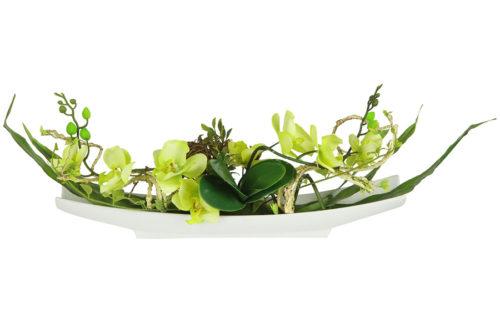 Декоративные цветы Орхидея желтая на керамической подставке