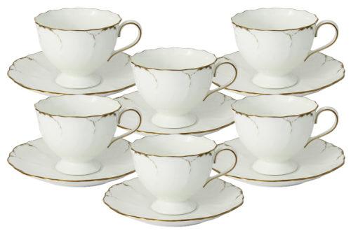 Набор: 6 чашек + 6 блюдец Белый с золотом