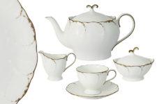 Чайный сервиз из 17 предметов на 6 персон Белый с золотом