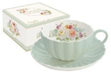Чашка с блюдцем Королевский сад (зеленая)
