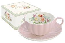 Чашка с блюдцем Королевский сад (розовая)