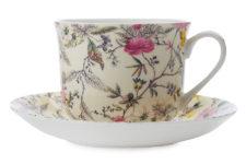 Чашка с блюдцем Летние цветы, большая, в подарочной упаковке