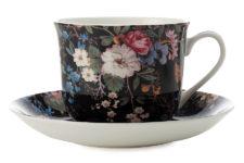 Чашка с блюдцем Полночные цветы, большая, в подарочной упаковке