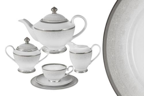 Чайный сервиз Вуаль белая 23 предмета на 6 персон