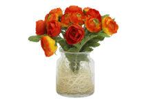 Декоративные цветы Купальницы оранжевые в стекл вазе