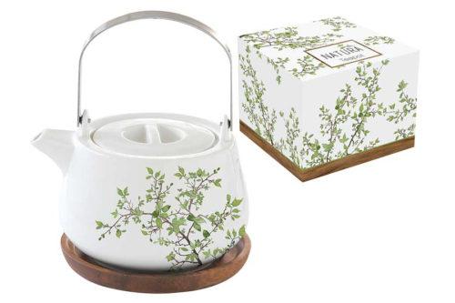Чайник на подставке из акации Натура в подарочной упаковке