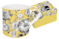 Кружка Цветовая палитра (жёлтая, цветы) в подарочной упак.