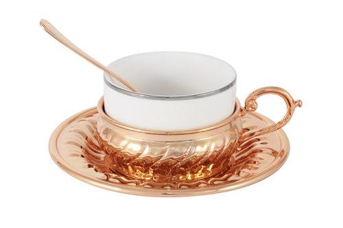 Чайный набор Stradivari с отделкой под розовое золото в подарочной коробке