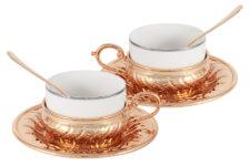 Чайный набор на 2 персоны Stradivari с отделкой под розовое золото в подарочной коробке
