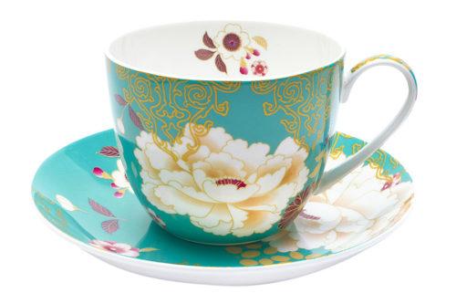 Чашка с блюдцем Кимоно (бирюза)  в подарочной упаковке