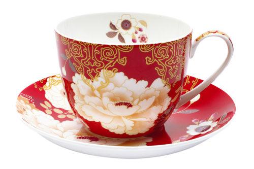 Чашка с блюдцем Кимоно (красный) в подарочной упаковке