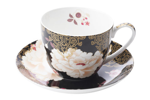 Чашка с блюдцем Кимоно (черный)  в подарочной упаковке