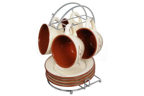 Чайный набор на металлической подставке Кухня в стиле Кантри