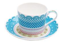 Чашка с блюдцем (голубая) Шантильи в подарочной упаковке