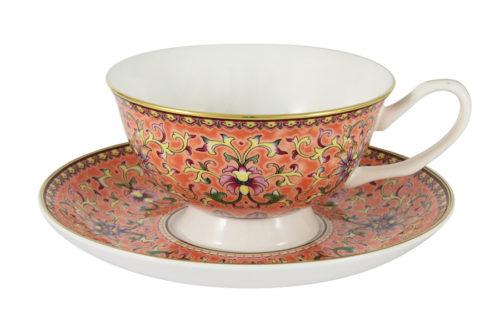 Чашка с блюдцем (оранжевая) Восточный дворец в подарочной упаковке