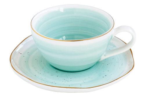 Чашка с блюдцем Artesanal (зел-голубая) без инд.упаковки