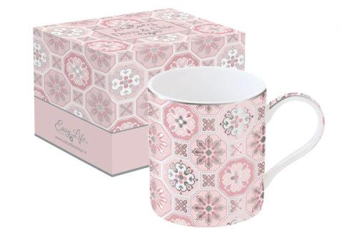 Кружка Изразцы (розовая) в подарочной упаковке