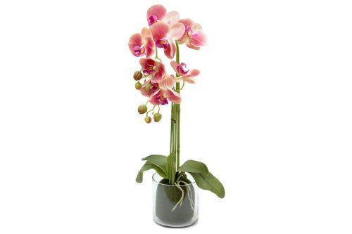 Декор.цветы Орхидея тём.розовая в стекл.вазе