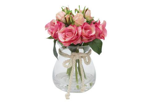 Декор.цветы Розы тём.розовые в стекл вазе