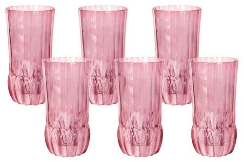 Набор: 6 стаканов для воды Адажио - розовая