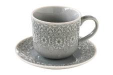 Чашка с блюдцем (серая) Ambiente без инд.упаковки
