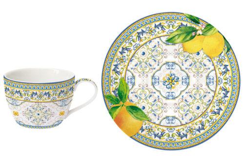 Чашка с блюдцем Капри (цитрус) без инд.упаковки