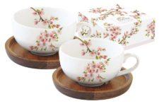 Набор из 2-х чашек для кофе с крышками/подставками из акации Японская сакура в подарочной упаковке