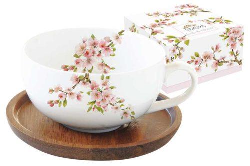 Чашка с крышкой/подставкой из акации Японская сакура в подарочной упаковке