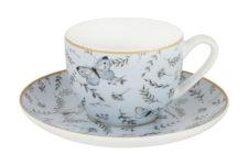 Чашка с блюдцем (голубая) Камея в цветной упаковке
