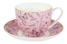 Чашка с блюдцем (розовая) Камея в цветной упаковке