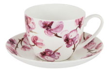 Чашка с блюдцем (белая) Орхидея в цветной упаковке