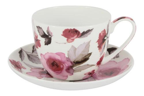 Чашка с блюдцем большая Пионы в цветной упаковке