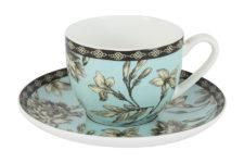 Чашка с блюдцем (голубая) Наталия в цветной упаковке