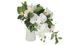 Декоративные цветы Букет орхидея белая и гортензии в керамической вазе