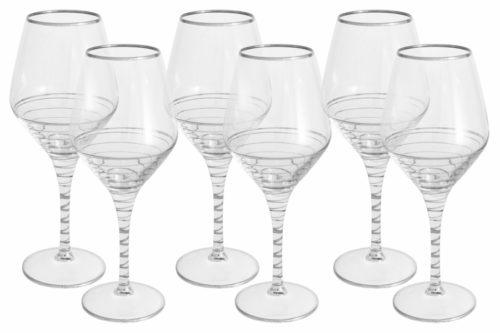 Набор: 6 бокалов для вина Спираль (серебро)