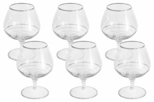 Набор: 6 бокалов для коньяка Спираль (серебро)
