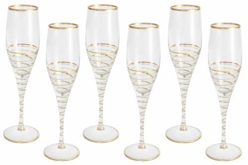 Набор: 6 бокалов для шампанского Спираль (золото)