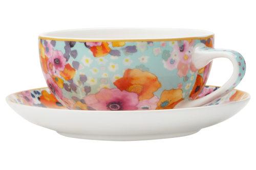 Чашка с блюдцем (голубая) Цветы в подарочной упаковке