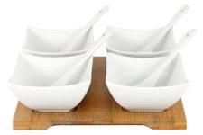 Набор д/закуски: 4 салатника с 4 ложками на подносе в подарочной упаковке