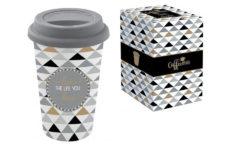 Кружка с крышкой (серая) TRAVEL MUG в подарочной упаковке