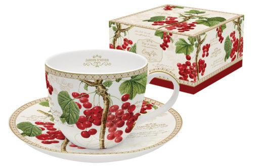 Чашка с блюдцем Красная смородина в подарочной упаковке