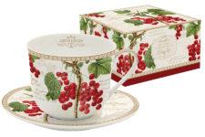 Чашка с блюдцем большая Красная смородина в подарочной упаковке