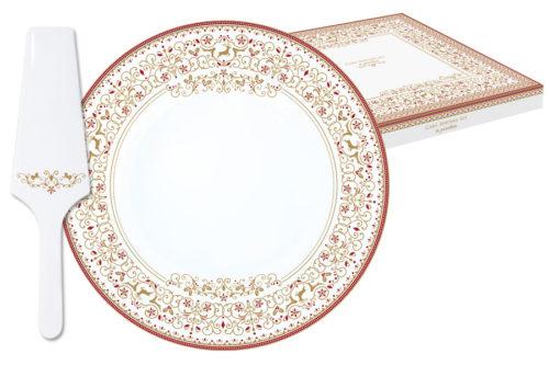 Набор д/ торта: блюдо + лопатка Новогодняя карусель в подарочной упаковке