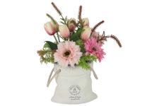 Декоративные цветы Герберы розовые и тюльпаны в керам.вазе