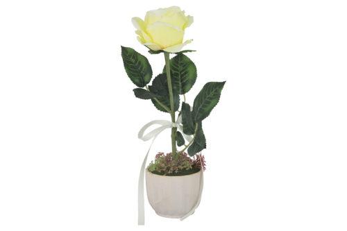 Декоративные цветы Роза жёлтая в керам.вазе