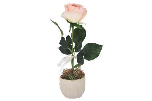 Декоративные цветы Роза св.розовая в керам.вазе