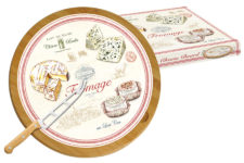 Блюдо д/сыра (вращающееся) бамбук/стекло + нож FROMAGE в подарочной упаковке.