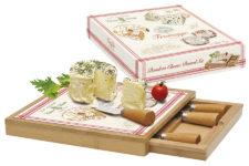 Набор д/сыра: доска, выдвижной ящик с 4-мя ножами, бамбук/стекло FROMAGE в подарочной упаковке