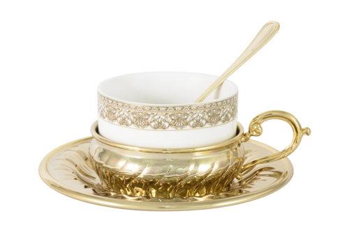 Чайный набор Stradivari с отделкой под золото в подароч.коробке