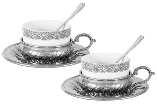 Чайный набор на 2 персоны Stradivari с отделкой под серебро в подароч.коробке